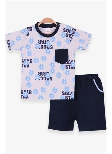 Breeze Erkek Bebek Şortlu Takım Futbol Temalı Cepli Krem (0-3 Ay-9 Ay) Krem